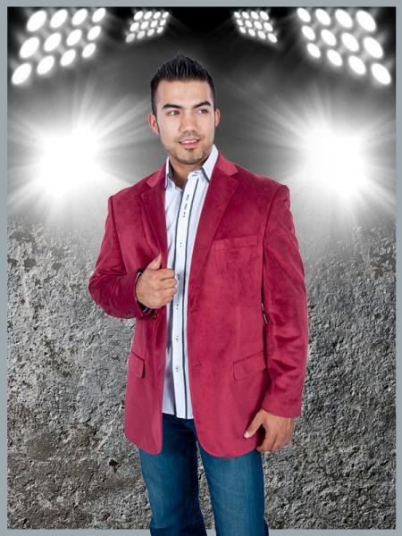 SKU#TH5C Mens Stylish 2 Button Sport Jacket Burgundy ~ Maroon ~ Wine Color Discounted Affordable Velvet ~ Velour Sport coat Blazer $99