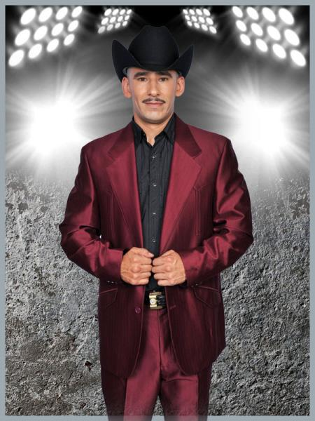 SKU#MQQ3 Mens Western Suit Burgundy $139
