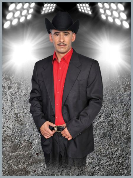 SKU#YKK4 Mens Western Suit Black/Red $239