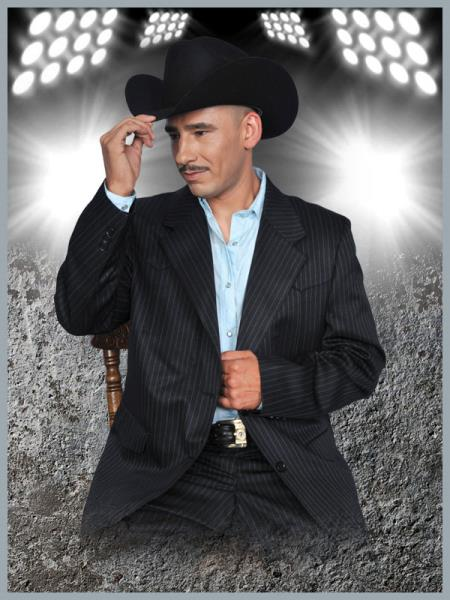 SKU#KKU20 Mens Western Suit Black/Sky Blue $239