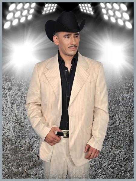 SKU#BBB66 Mens Western Suit Bone/Black $239