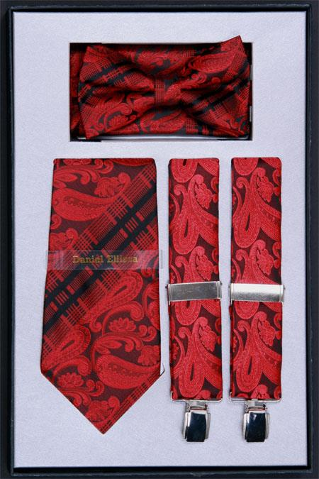 SKU#NF62 Mens Suspender, Tie, Bow Tie and Hanky Set Red $75