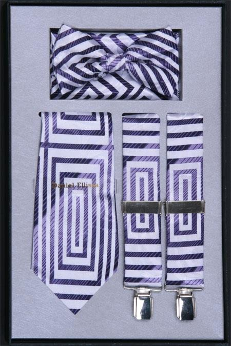 Mens Suspender Tie Bow Tie and Hanky Set Lilac