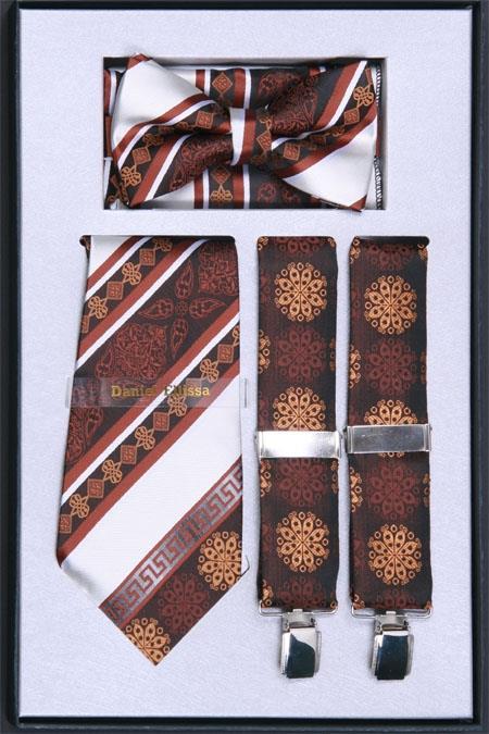 SKU#VK72 Mens Suspender, Tie, Bow Tie ~ Bowtie and Hanky Set Brown $75