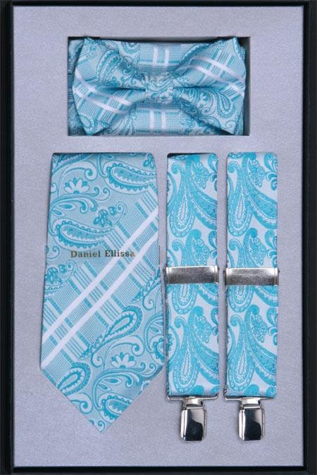 Mens Suspender Tie Bow Tie and Hanky Set Turquoise