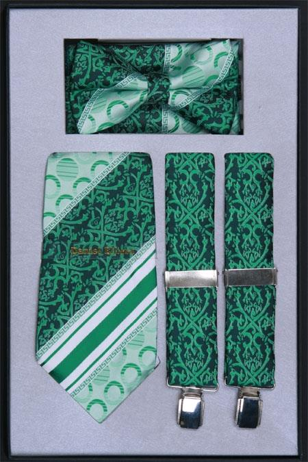 SKU#LS73 Men's Suspender, Tie, Bow Tie ~ Bowtie and Hanky Set Emerald Green