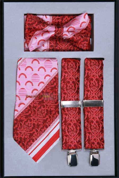 Mens Suspender Tie Bow Tie and Hanky Set Red