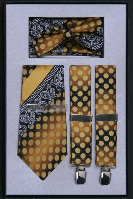 SKU#PX62 Mens Suspender, Tie, Bow Tie ~ Bowtie and Hanky Set Mustard $75
