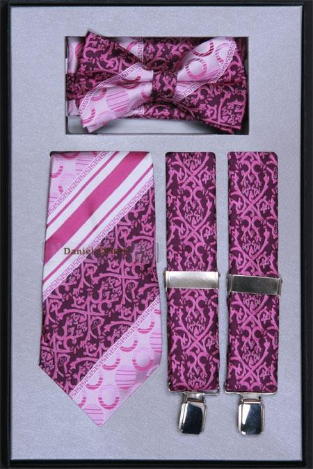 SKU#FK77 Mens Suspender, Tie, Bow Tie ~ Bowtie and Hanky Set Lavender $75