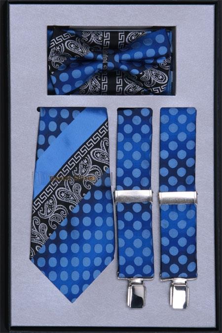 SKU#HQ63 Mens Suspender, Tie, Bow Tie ~ Bowtiee and Hanky Set Royal $75