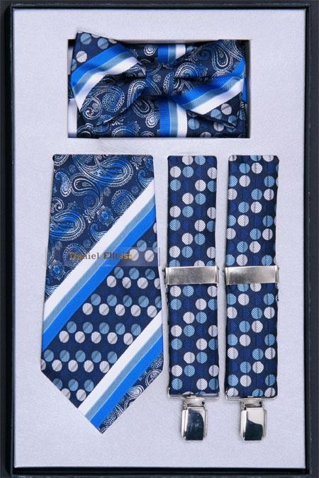 SKU#NF25 Mens Suspender, Tie, Bow Tie ~ Bowtie and Hanky Set Royal $75