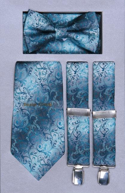 SKU#RG85 Mens Suspender, Tie, Bow Tie ~ Bowtie and Hanky Set turquoise ~ Light Blue Stage Party