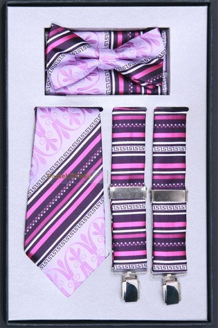 SKU#JN74 Mens Suspender, Tie, Bow Tie ~ Bowtie and Hanky Set Lilac Lavender