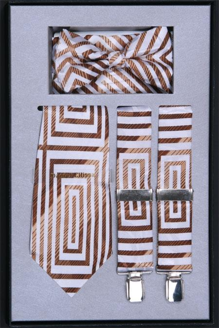 Mens Suspender Tie Bow Tie and Hanky Set Brown