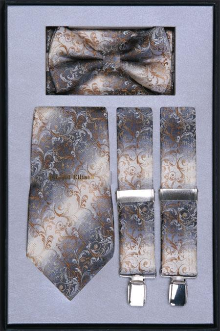 SKU#DH35 Mens Suspender, Tie, Bow Tie and Hanky Set Brown $75