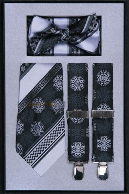 SKU#RV74 Mens Suspender, Tie, Bow Tie ~ Bowtie and Hanky Set Black $75