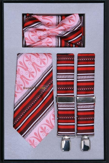 Mens Suspender Tie Bow Tie and Hanky Set Pink
