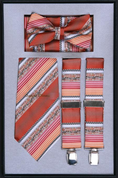 Mens Suspender Tie Bow Tie and Hanky Set Rust