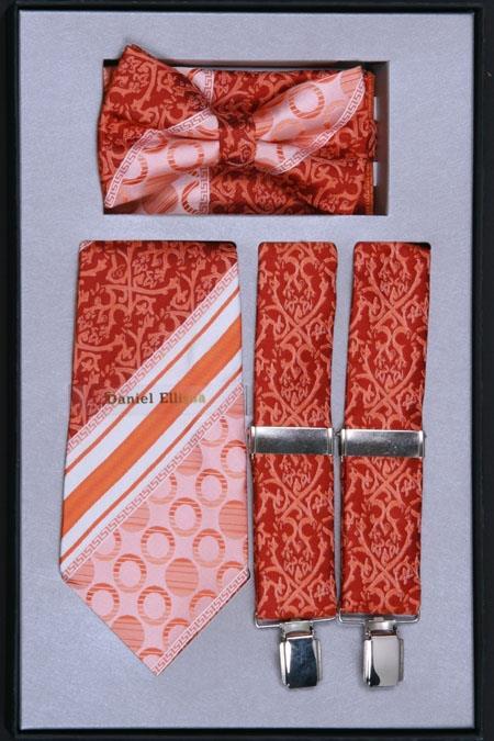 SKU#TS29 Mens Suspender, Tie, Bow Tie ~ Bowtie and Hanky Set Rust