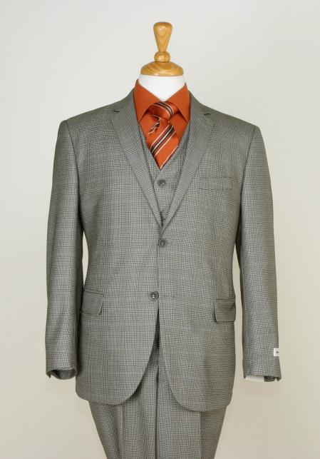 SKU#BG7E6 Mens 3 Piece Slim Cut Suit - Checkered Fabric & Adjustable Waist Beige $225