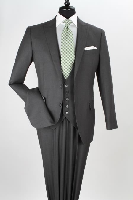3 Piece Suit Wide Leg Pant Wool-feel Charcoal Mens Jacket/blazer And Vest