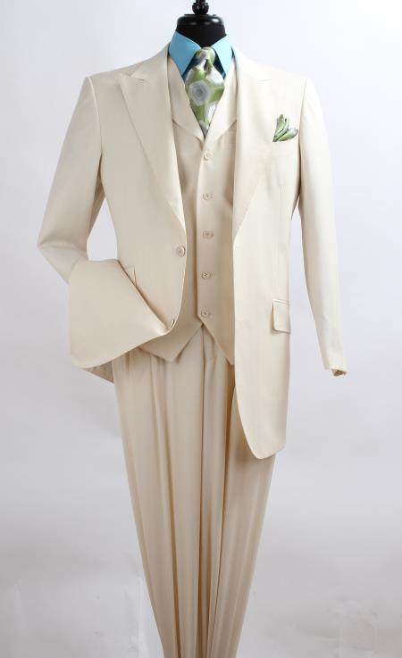 SKU#SZ3Q2 Mens 3 Piece Fashion three piece suit - Wool Feel with Peak Lapel Ivory~Cream~Off White dinner jacket / blazer