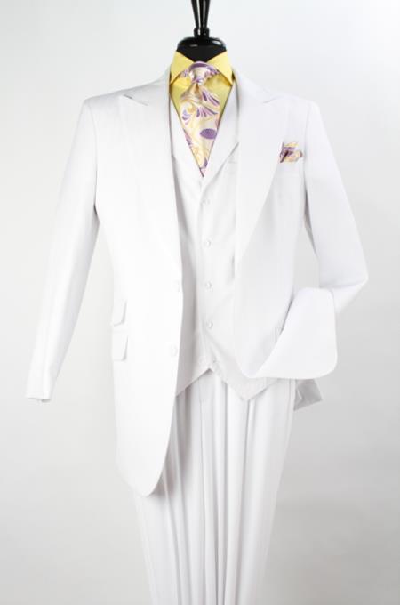 3 Piece Suit Wide Leg Pant Wool-feel Pure White Mens Jacket/blazer And Vest