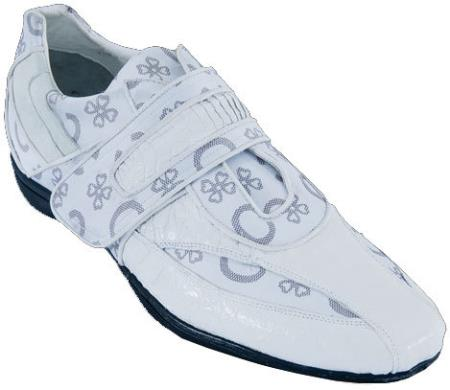 SKU#MA7A Mens Casual Shoes Los Altos Velcro Caiman Belly Leather With Design White $209