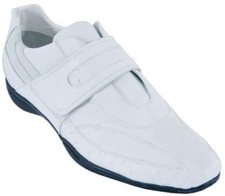 SKU#MQ91W Mens Casual Shoes Los Altos Velcro Ostrich With Deer Leather Strap-On White $209