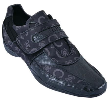 SKU#YX2S Mens Casual Shoes Los Altos Velcro Caiman Belly Leather With Design Black $209