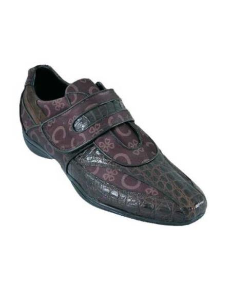SKU#SWQ1 Mens Casual Shoes Los Altos Velcro caiman ~ alligator Belly Leather With Design Brown $209