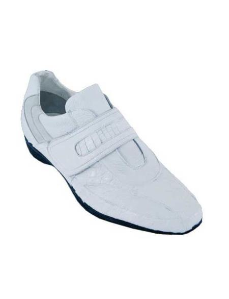 SKU#ADU7 Mens Casual Shoes Los Altos Velcro Caiman Belly With Deer Leather Strap-On White $209