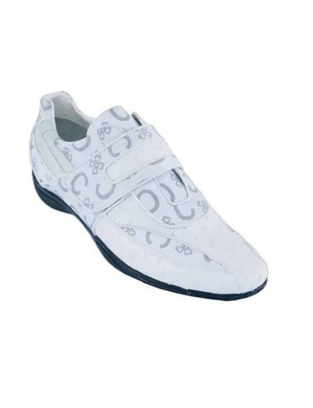 SKU#SA3W Mens Casual Shoes Los Altos Velcro Ostrich With Design Leather Strap-On White $209