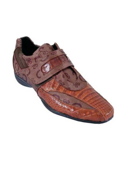 SKU#DQ2W Mens Casual Shoes Los Altos Velcro Caiman Belly Leather With Design Cognac $209