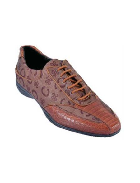 SKU#EA2A Mens Casual Shoes Los Altos caiman ~ alligator Belly With Design Leather Lace-Up Cognac $209