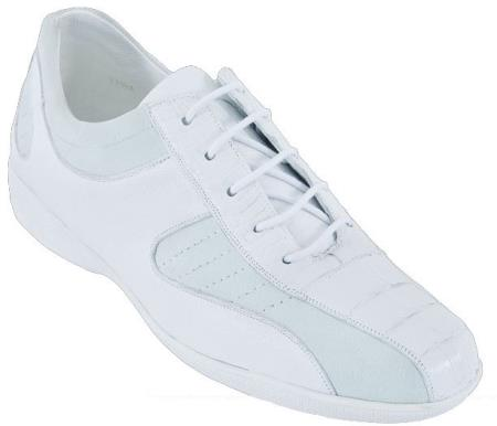 SKU#YG2S Mens Casual Shoes Los Altos Caiman Belly With Deer Leather Lace-Up White $209