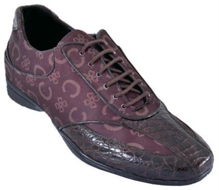 SKU#AU7Q Mens Casual Shoes Los Altos caiman ~ alligator Belly With Design Leather Lace-Up Brown $209