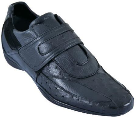 SKU#QFA2 Mens Casual Shoes Los Altos Velcro Ostrich With Deer Leather Strap-On Black $209