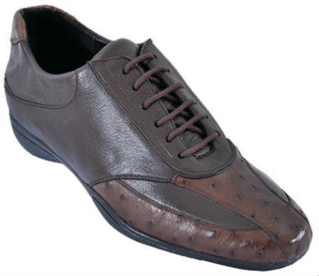 SKU#GN13C Mens Casual Shoes Los Altos Ostrich With Deer Leather Lace-Up Brown $209
