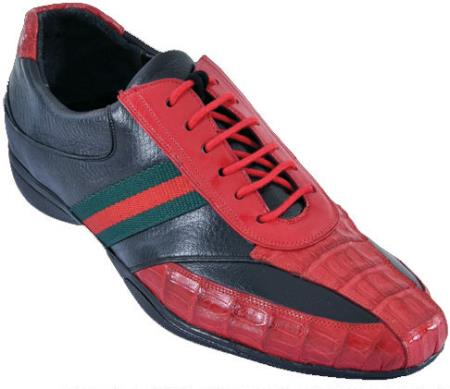 SKU#KP99 Mens Casual Shoes Los Altos caiman ~ alligator Belly With Deer Leather Lace-Up Red/Black $219