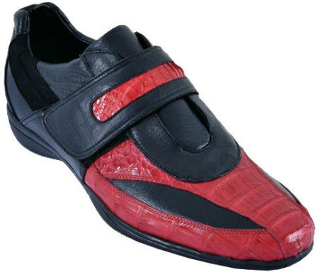 MensUSA.com Mens Casual Shoes Los Altos Velcro Caiman Belly With Deer Leather Red Black(Exchange only policy) at Sears.com