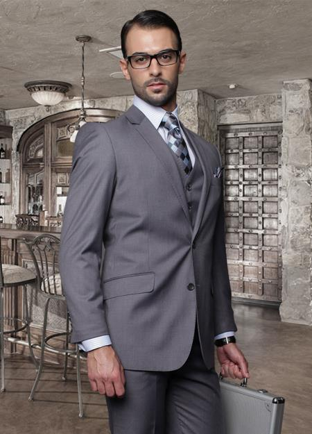 SKU#GMN43 2 Button Charcoal Suit with a Vest Super 150s Italian Wool Pick Stitched Lapel Slanted Pocket $239