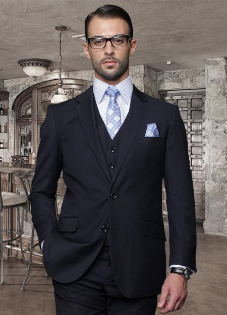 SKU#ABC77 2 Button Navy Suit with a Vest Super 150s Italian Wool Pick Stitched Lapel Slanted Pocket $239