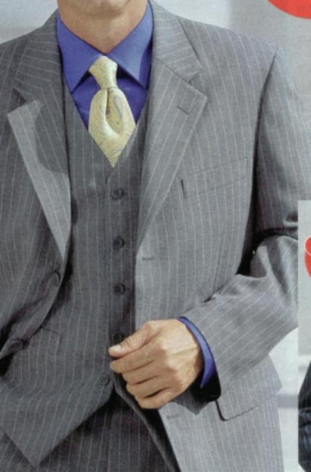 SKU# BER_28 Classic 3 Piece Light Gray Pinstripe Super Fine Wool Feel Poly~Rayon three piece suit