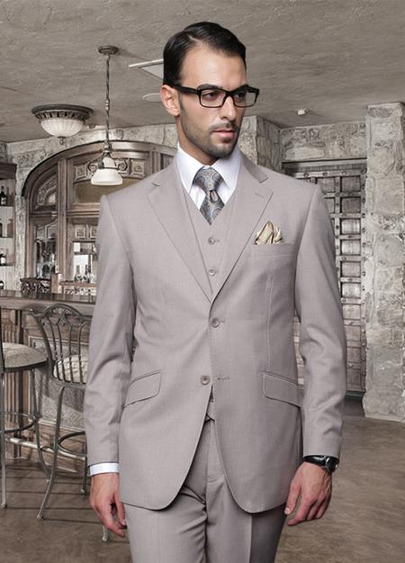 SKU#ZAD_TZ1000 Classic 3PC 2 Button Solid Tan ~ Beige Suit Super 150s Pick Stitched lapel Italian Fabric