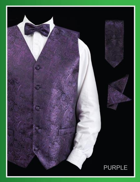 SKU#PSJ8 Mens 4 Piece Vest Set (Bow Tie, Neck Tie, Hanky) - Paisley Design Purple