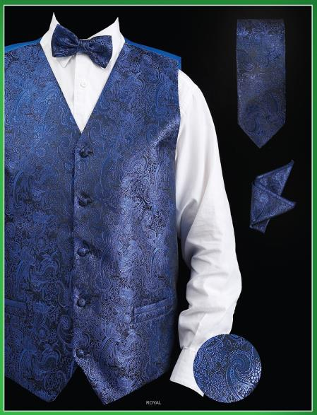 SKU#UJA9 Mens 4 Piece Vest Set (Bow Tie, Neck Tie, Hanky) - Paisley Design Royal Blue $75