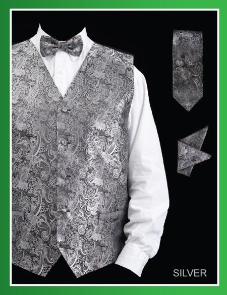SKU#LAD9 Mens 4 Piece Vest Set (Bow Tie, Neck Tie, Hanky) - Paisley Design Silver $75