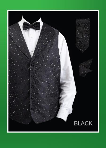 SKU#JKA5 Mens 4 Piece Vest Set (Bow Tie, Neck Tie, Hanky) - Lapelled Vest Black