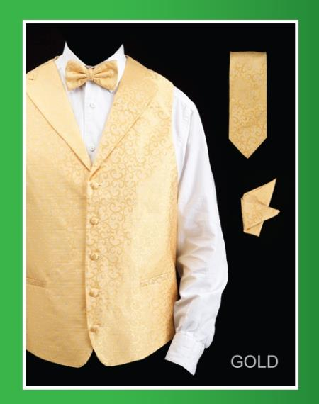 SKU#HQF8 Mens 4 Piece Vest Set (Bow Tie, Neck Tie, Hanky) - Lapelled Vest Gold $75
